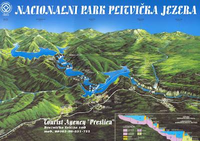 Mapa de Plitvička Jezera, Croacia
