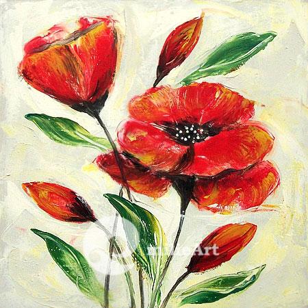Lukisan Bunga Merah 50x50cm MB-031