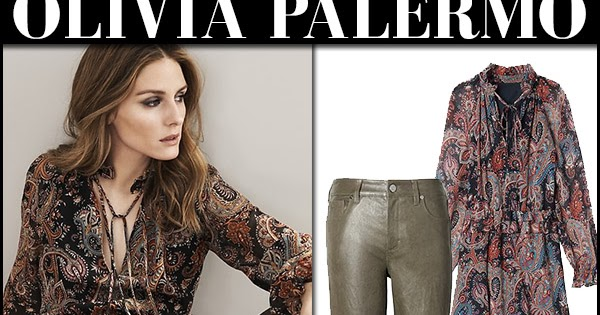Olivia Palermo in paisley print dress and green leather pants Banana  Republic Fall 2017 ~ I want her style - What celebrities wore and where to  buy it. 568f92015