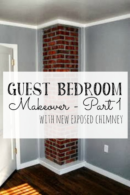 Guest bedroom with new exposed chimney