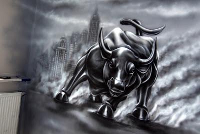 malowanie byka, mural w biurze, malowanie obrazów na ścianie w biurach, graffiti w biurze, malowanie