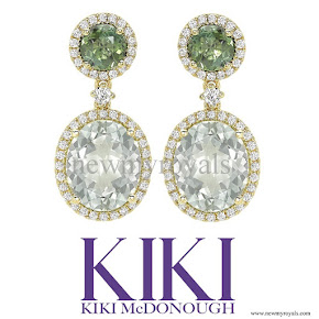 Kate Middleton jewels Kiki McDonough Special Edition Green Tourmaline, Green Amethyst and Diamond Earrings