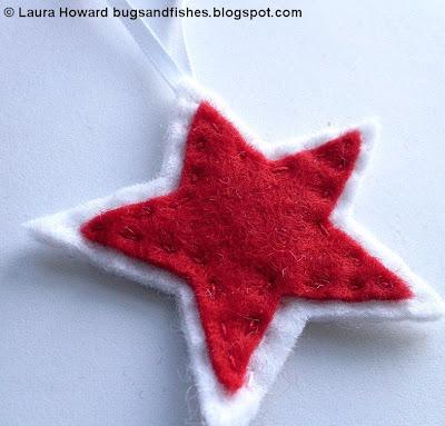ornament1d - Enfeite coração e estrela de feltro