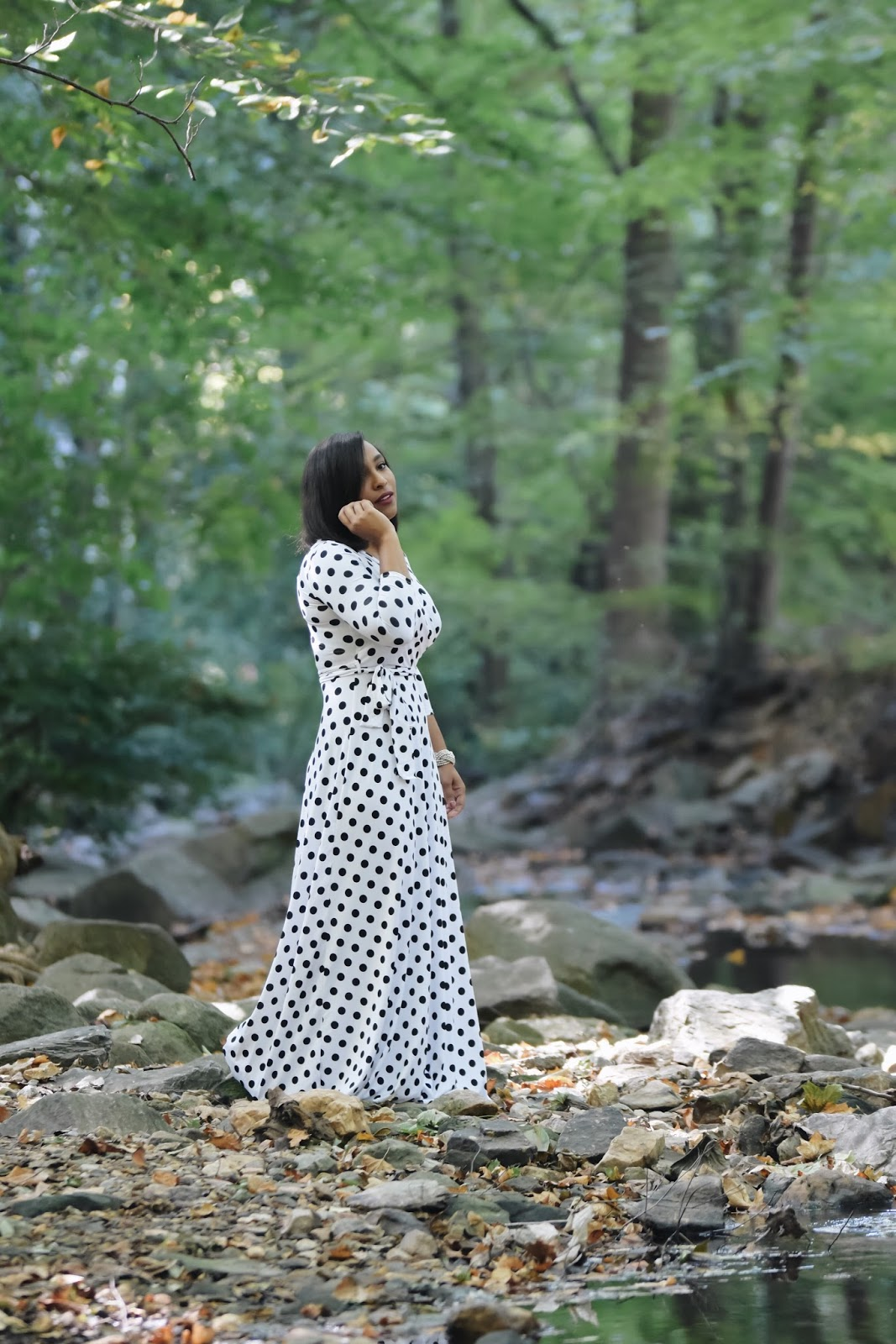 polka dot dress, woods, forest, long dresses, dress ideas for the holidays, black and white, fall outfit ideas