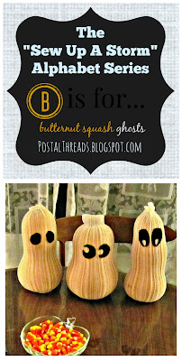 3 Butternut Squash Ghosts covered with leg pieces of white tights. Black felt for eyes. Easy storage decor. Displayed next to candy corn candy dish.