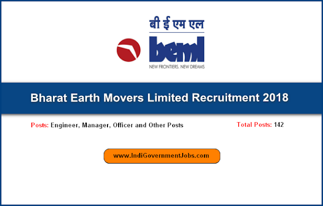 BEML Recruitment 2018-Engineer, Manager, Officer and Other Posts