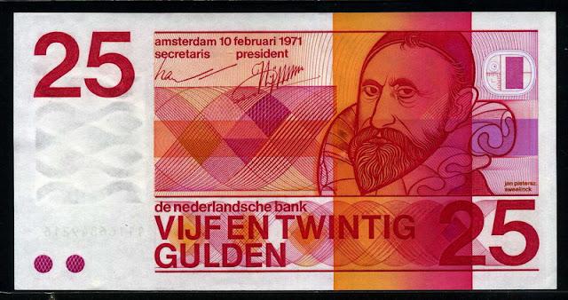 Netherlands money currency Dutch guilder 25 Gulden banknotes