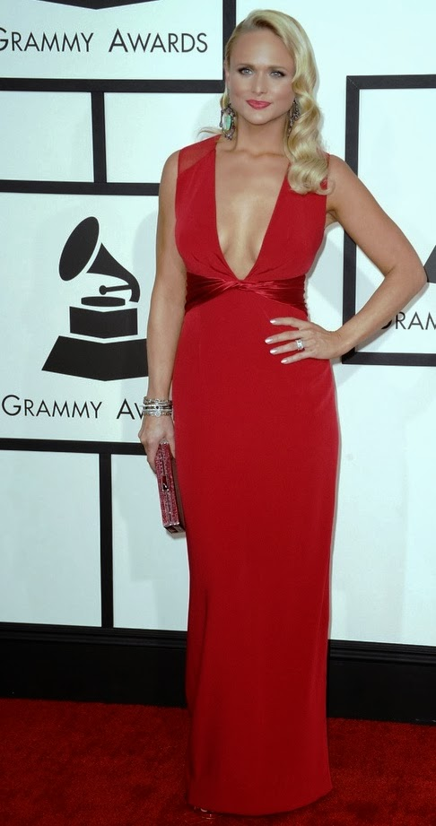 Chrissy+Teigen+in+Johanna+Johnson Grammys 2014