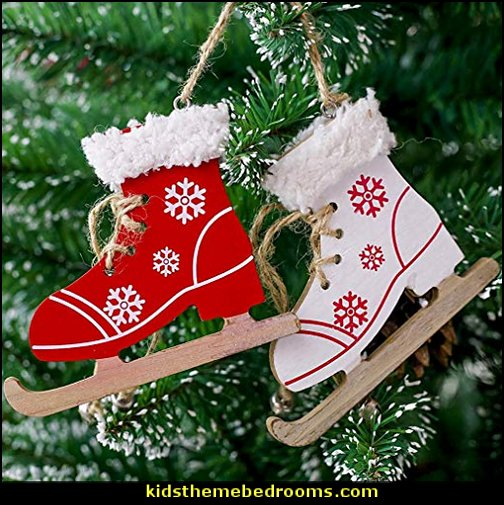 Christmas Creative Decorative Pendant Christmas Tree Ornaments Skates Ski Shoes