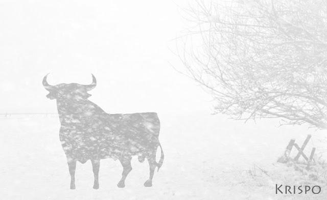 silueta del toro de osborne tras nieve