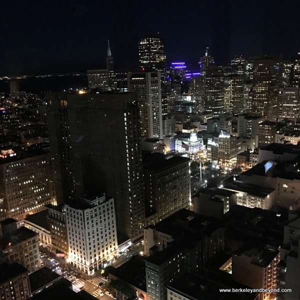 night view from Cityscape Lounge in the Hilton San Francisco Union Square in San Francisco, California