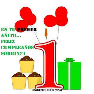 Feliz Cumpleaños Sobrinita pequeña en tu primer año. Tarjetas para 1 añito.