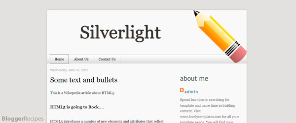 Silverlight Blogger Template