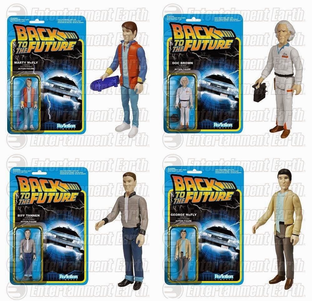Back to the Future ReAction Retro Action Figures by Funko & Super7 - Marty McFly, Doc Brown, Biff Tannen & George McFly