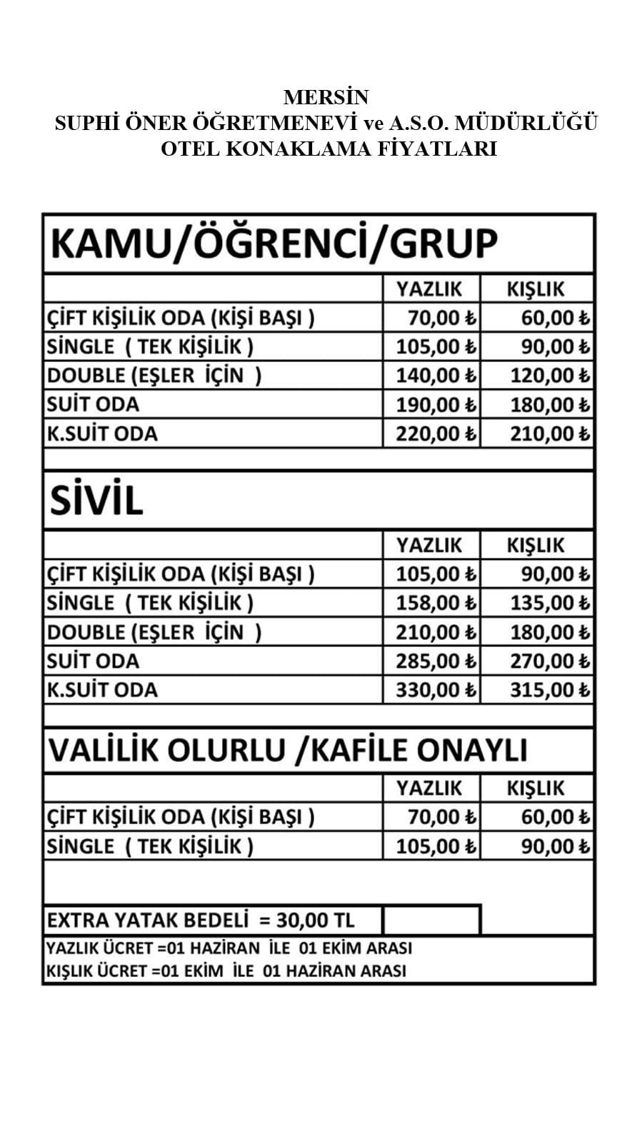 suphi oner ogretmenevi fiyatlari otel fiyatlari mersin yenisehir