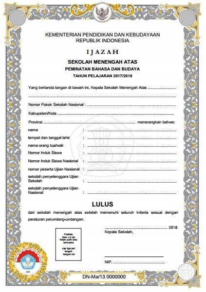 Petunjuk Teknis Pengisian Blangko Ijazah Satuan Pendidikan Dasar dan Menengah