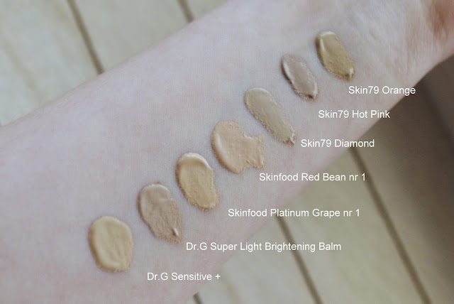 BB cream swatch dr.G Skinfood skin79