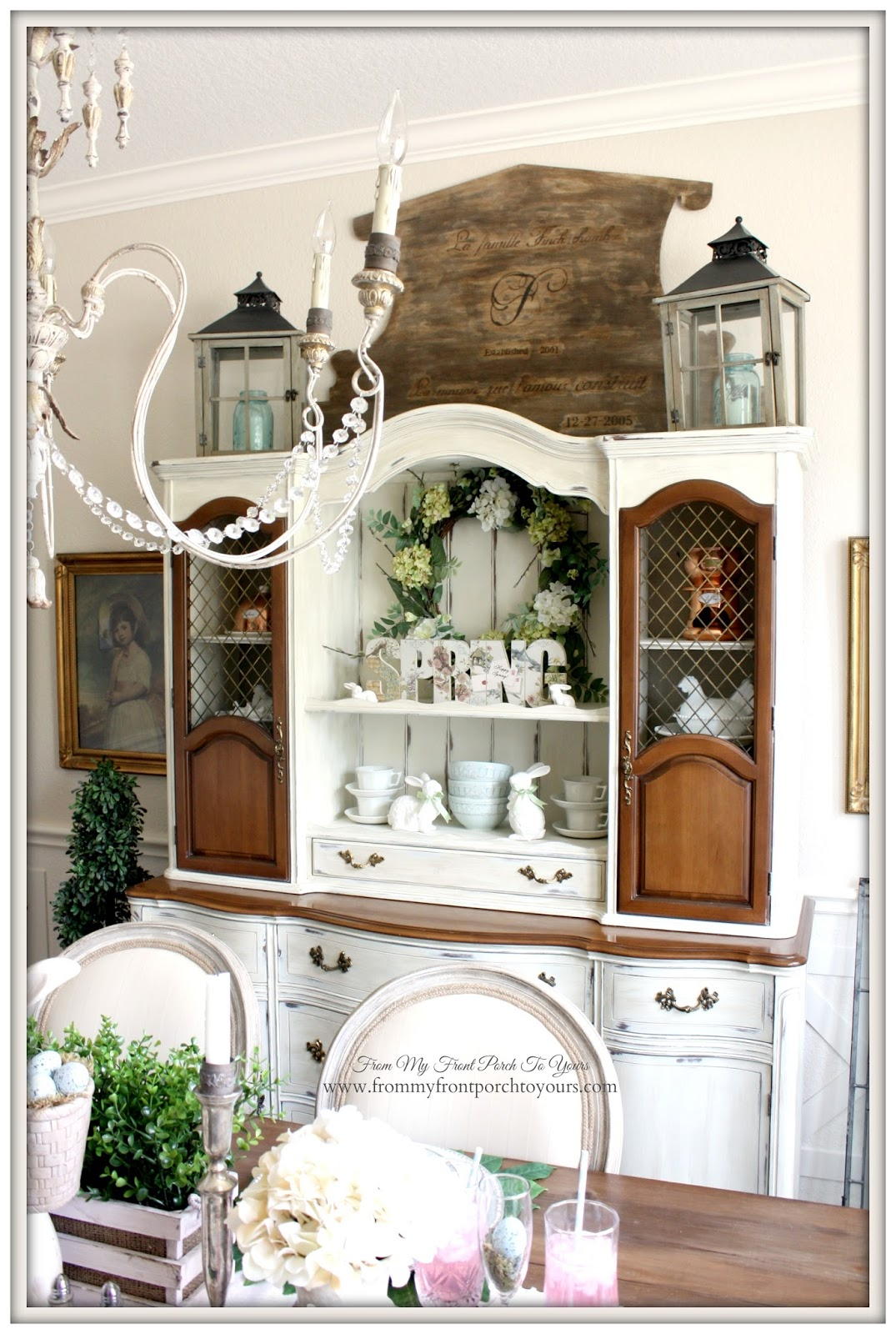 French Farmhouse Easter Dining Room-Laterns- From My Front Porch To Yours
