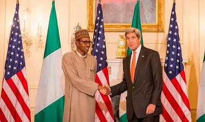 President Muhammadu Buhari and Secreatry of state, John Kerry in Washington DC.