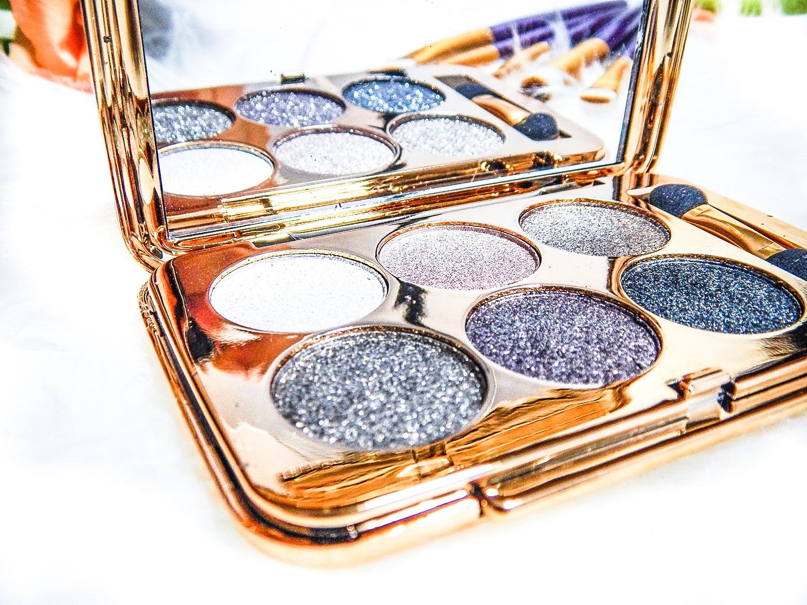 1 nagłówek azjatyckie chińskie kosmetyki recenzja melodylaniella beauty paleta 6 cieni brokatowe cienie do powiek sammydress cienie do powiek ze złotem i brokatem