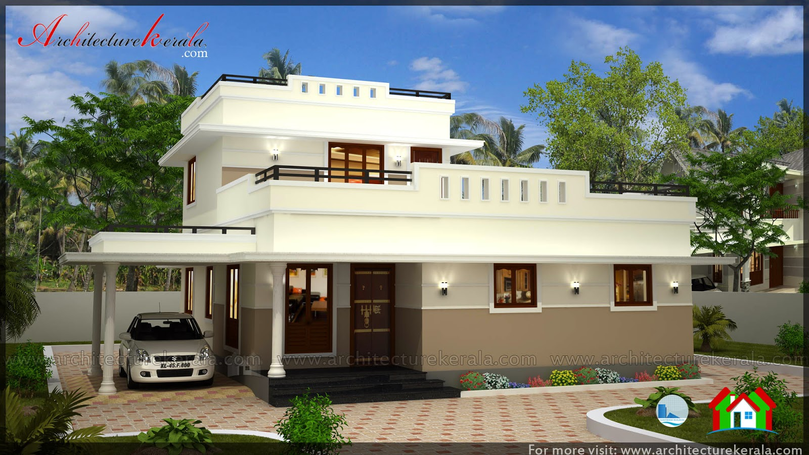 Low cost 3 bedroom kerala house plan with elevation free for Kerala two bedroom house plans