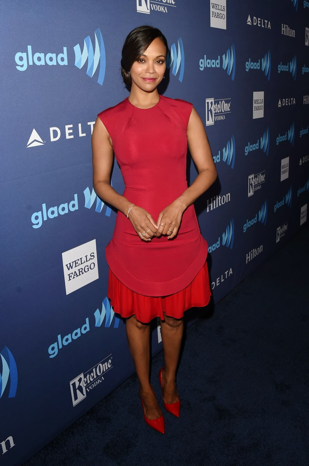 Zoe Saldana at the 2015 GLAAD Media Awards in Beverly Hills
