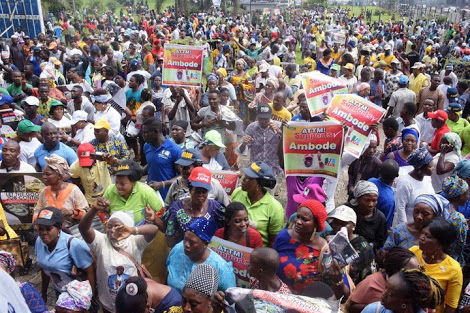 Ambode's Supporters In Their Thousands Protest In Lagos