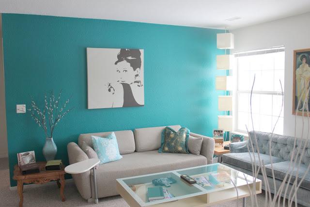Salas color turquesa y gris salas con estilo - Combinacion colores paredes ...