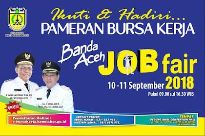Job Fair Banda Aceh September 2018 oleh Dinas Tenaga Kerja Kota Banda Aceh