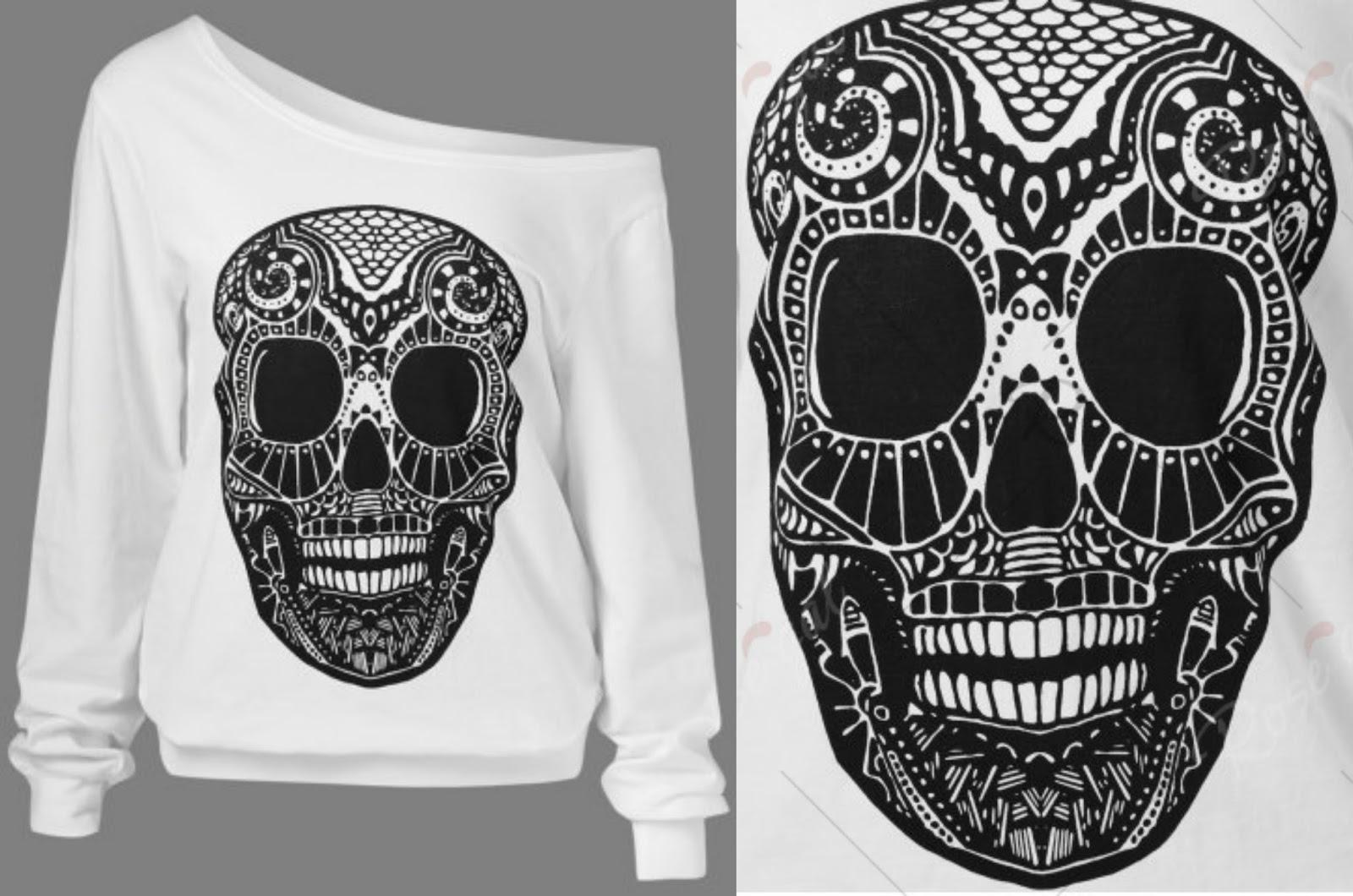 3D Skulls Print Skew Collar Sweatshirt
