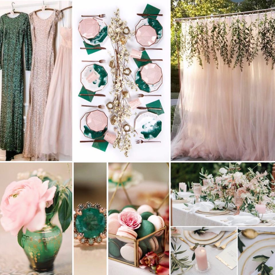 emerald and blush moodboard with wedding detials and inspiration
