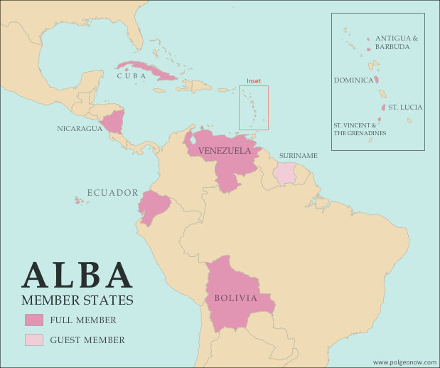 Map of the Bolivarian Alliance for the Peoples of Our Americas (ALBA), showing full member countries, including new member Saint Lucia, as well as special guest members (colorblind accessible).