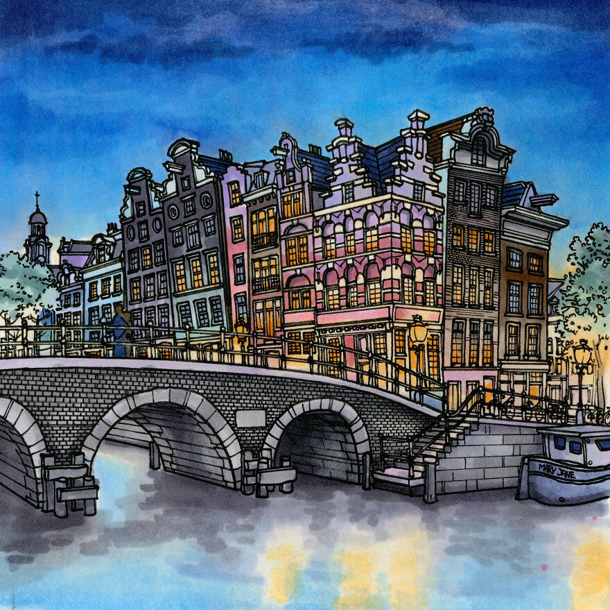 13 Artistic Illustrations Of Famous Places Around The World - Amsterdam, The Netherlands