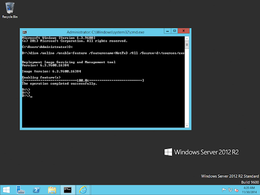 Enabling .Net Framework 3.5 in Windows Server 2012 using Command prompt