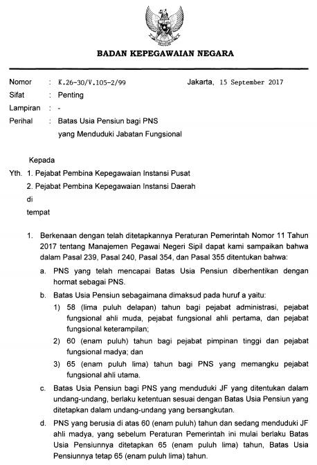 Surat Kepala BKN Tentang Batas Usia Pensiun Jabatan Fungsional