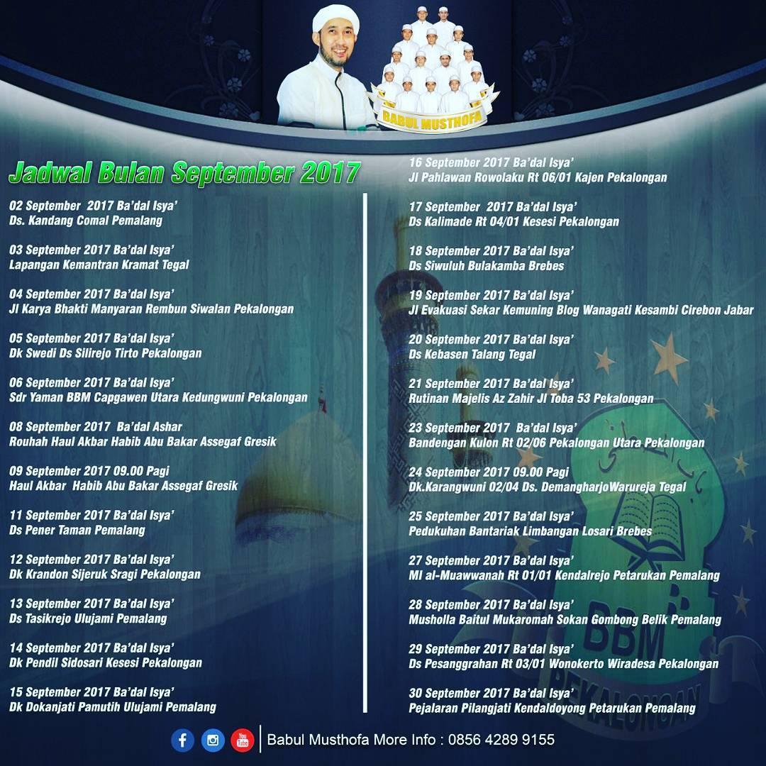 Jadwal Babul Musthofa Bulan September 2017 Lengkap Terbaru