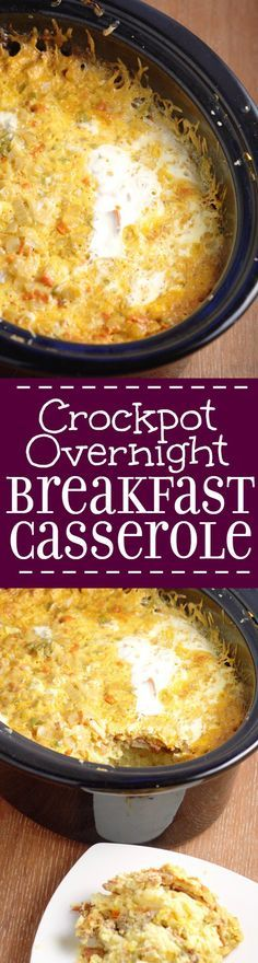 With the holidays quickly (too quickly!) approaching and schedules getting busier by the minute, I'm sure you're looking to have one less thing to worry about (or at least I am!).  This Crockpot Overnight Breakfast Casserole can be the perfect answer to that request! You just put it in the slow cooker, go to sleep while it's cooking, and serve it up in the morning!