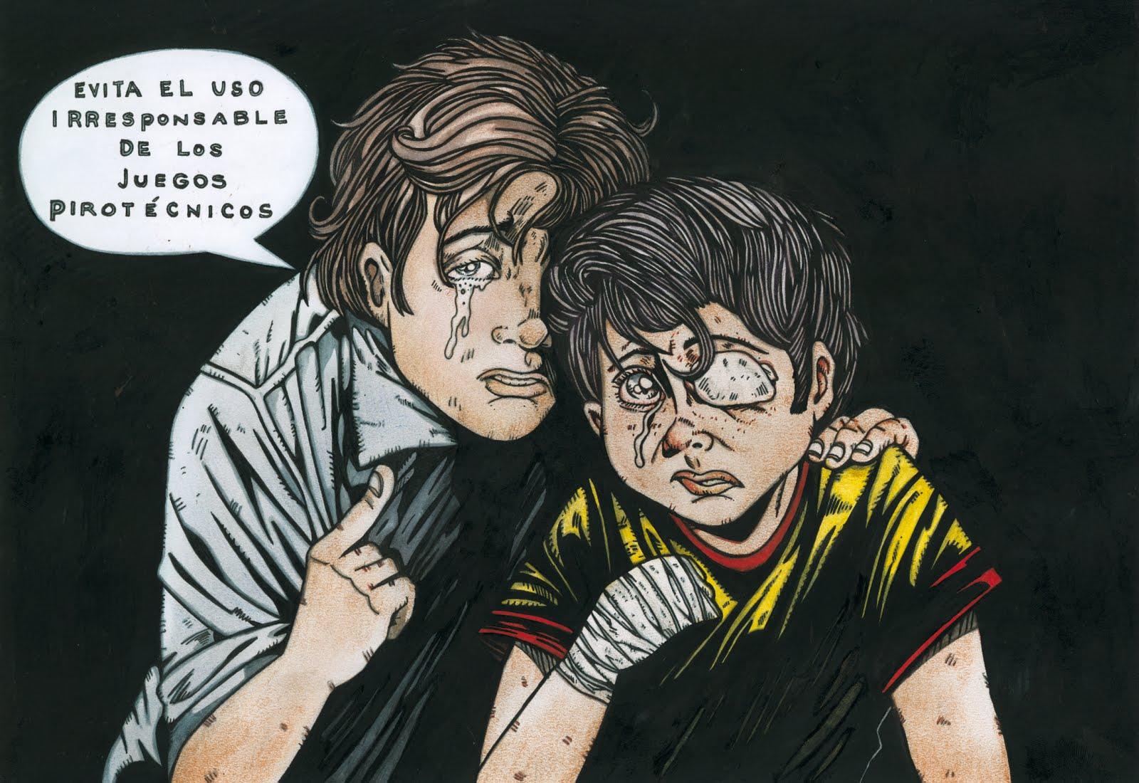 Leonidas Valcarcel Afiches Sobre El Mal Uso De Los Juegos Pirotecnicos