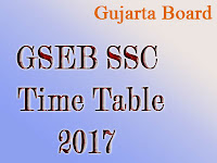 Gujarat Board GSEB Exam Time Table 2017
