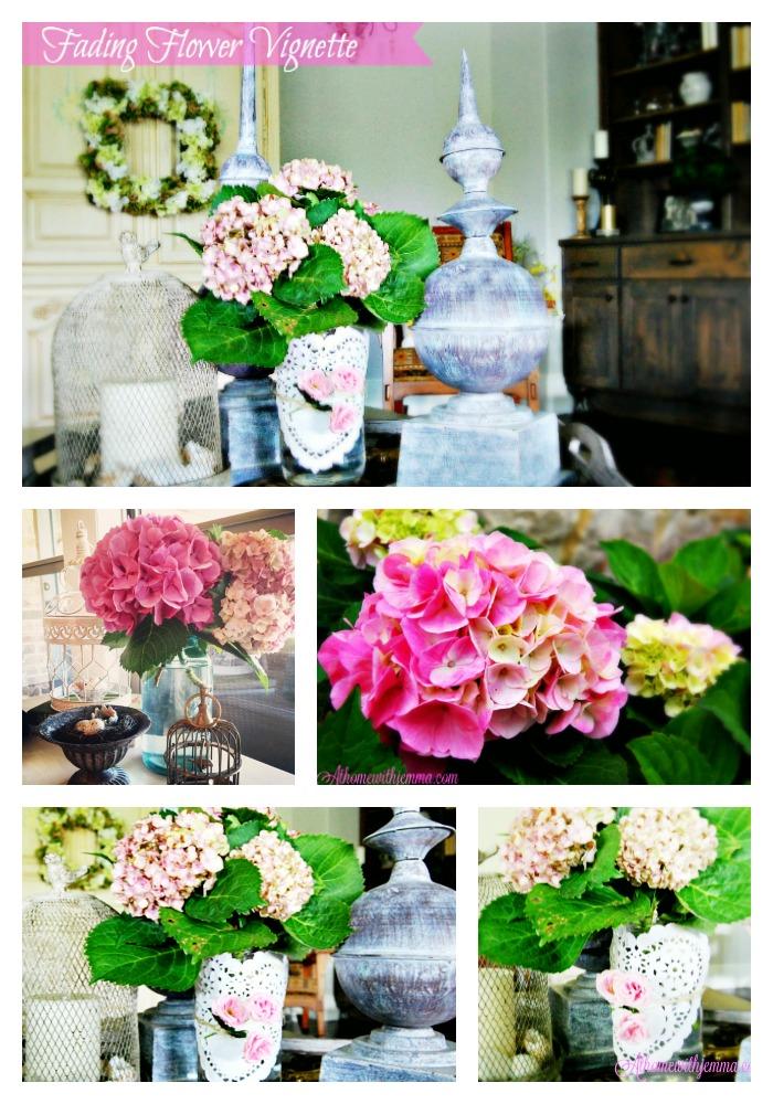 glass jar, mason jar, twine, doily, flowers, wood tray, metal birdcage