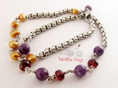 Wire Wrapped Minima Bracelet (Minlet) with Gold pearl, Amethyst and Garnet