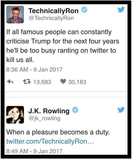 Tweet JK Rowling about Trump. 1.9.17. I accept your lack of knowledge. marchmatron.com