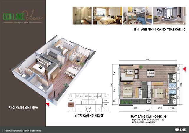Thiết kế căn hộ 03 tòa HH-3 chung cư Eco Lake View