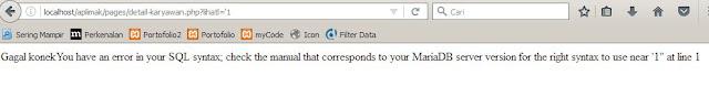 error akibat data tidak di filter