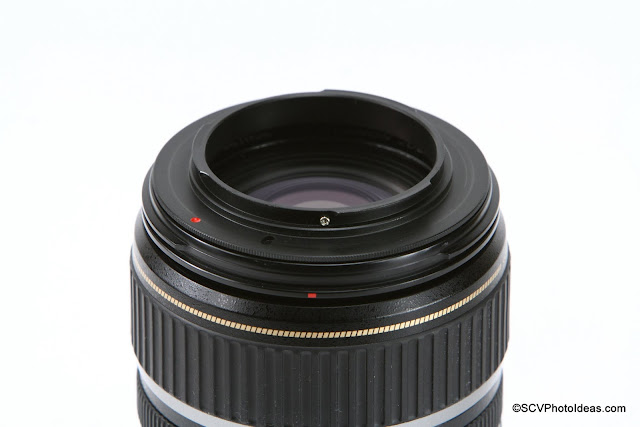 Canon EF-S 17-85 IS USM w 67mm Reverse Mount Adapter Ring installed