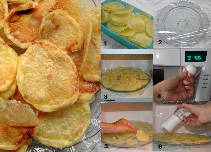 De Colher Pra Colher: Batata Chips de Micro-ondas