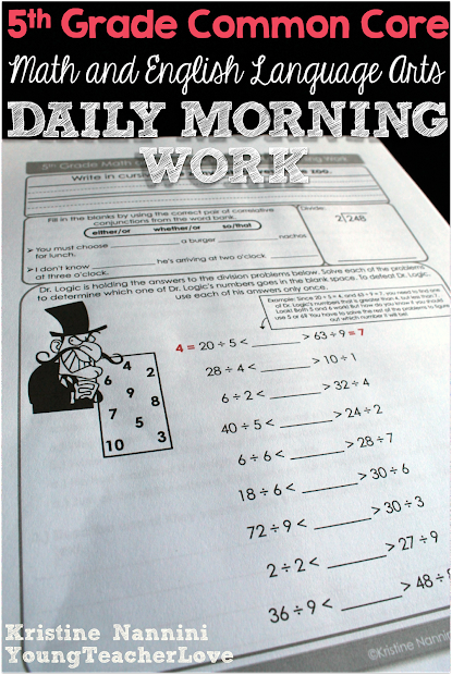 Morning Work Daily 5th Grade Common Core Math And