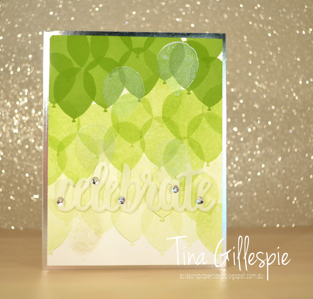 scissorspapercard, Stampin' Up!, Art With Heart, Colour Creations, Balloon Celebration, Celebrate You Thinlits, Shimmer Paint