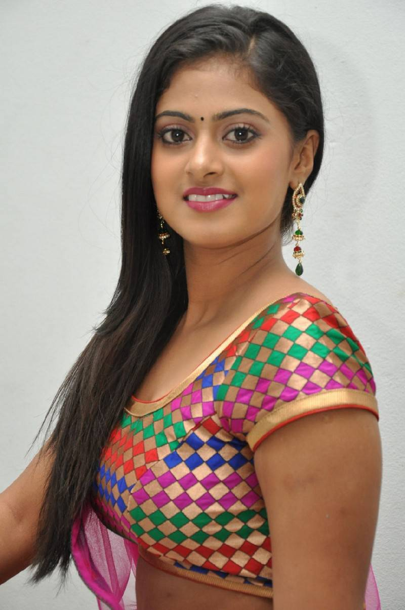 Beautiful Telugu Girl Megha Sri Long Hair Stills In Pink Lehenga Voni