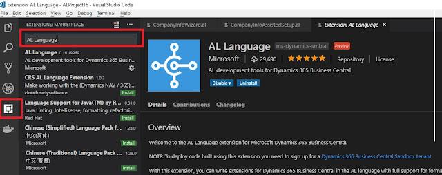 AL Extension Installation on Visual Studio Code